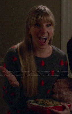 Brittany's grey heart print sweater on Glee
