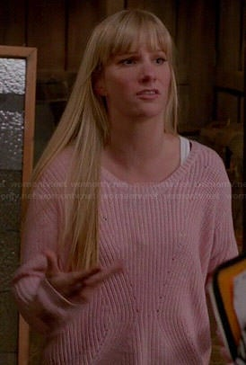 Brittany's pink ribbed sweater on Glee