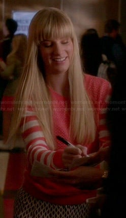 Brittany's pink sweater with striped sleeves on Glee