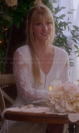 Brittany's white lace long sleeved dress on Glee