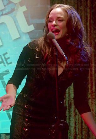 Caitlin's black beaded mini dress on The Flash