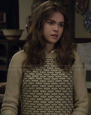 Callie's embroidered front sweater on The Fosters