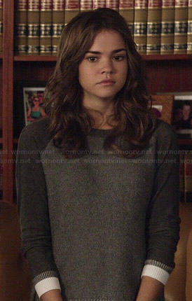 Callie's grey sweater with white trim on The Fosters