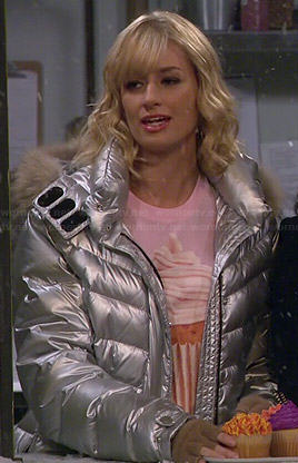 Caroline's silver jacket on 2 Broke Girls