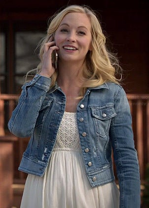 Caroline's white crochet panel dress and denim jacket on The Vampire Diaries