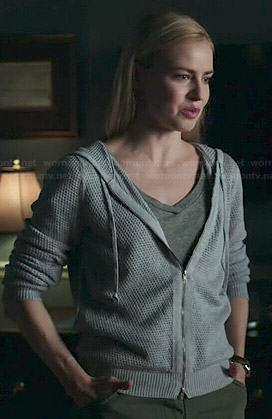 Cassandra's grey mesh hoodie on 12 Monkeys