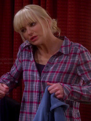 Christy's pink and grey plaid shirt on Mom