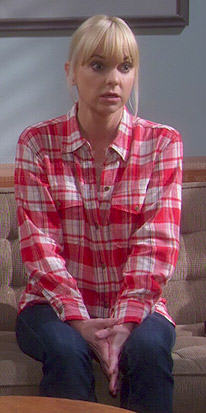 Christy's red plaid shirt on Mom