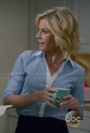 Claire's blue striped shirt with white collar on Modern Family