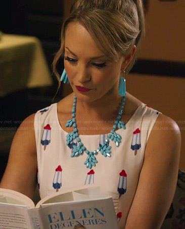 AnnaBeth's floral and polka dot print strapless dress on Hart of Dixie