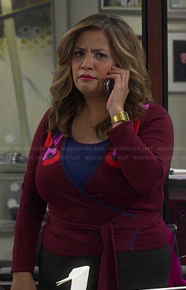 Cristela's burgundy floral wrap cardigan on Cristela