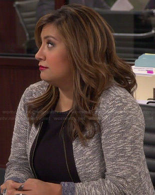Cristela's grey heathered zip front jacket on Cristela