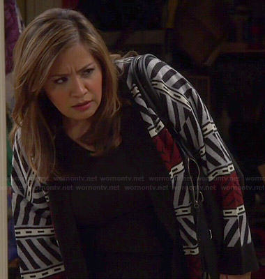 Cristela's grey and red zig zag cardigan on Cristela