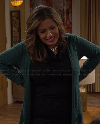 Cristela's long green zig zag cardigan on Cristela