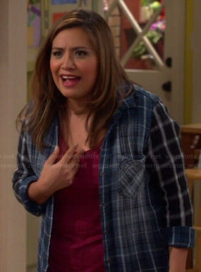 Cristela's mixed plaid print shirt on Cristela