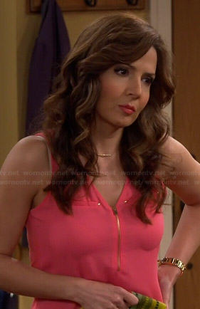 Daniella's pink zip neck top on Cristela