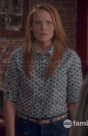 Daphn's white printed button front shirt on Switched at Birth