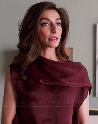 Delia's burgundy folded neck blouse on Girlfriends Guide to Divorce