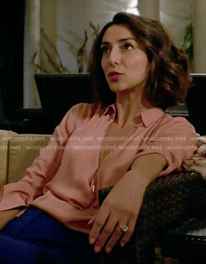 Delia's pink cowl neck blouse on Girlfriends Guide to Divorce