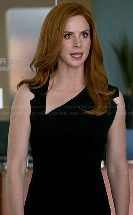 Donna's black asymmetric neckline dress on Suits