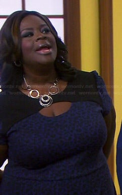 Donna's blue leopard print dress on Parks and Recreation