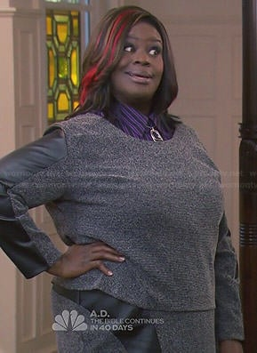 Donna's grey leather panel top and skirt set on Parks and Recreation
