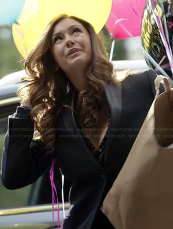 Elena's black jacket with leather collar on The Vampire Diaries