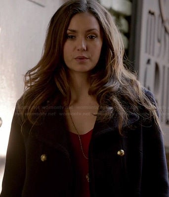Elena's navy coat with gold buttons on The Vampire Diaries
