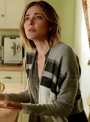 Ellie's grey two stripe cardigan on Cougar Town