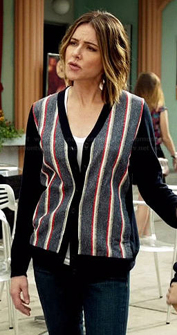 Ellie's navy striped v-neck cardigan on Cougar Town