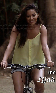 Emily's yellow button front cami on Pretty Little Liars
