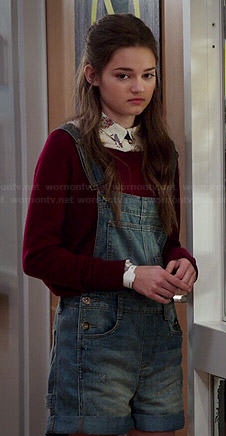 Emma's short denim overalls on Red Band Society