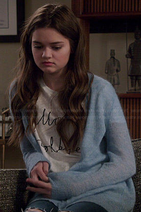 Emma's 'Hello Goodbye' tee and blue fluffy cardigan on Red Band Society