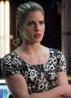 Felicity's fur printed dress on Arrow