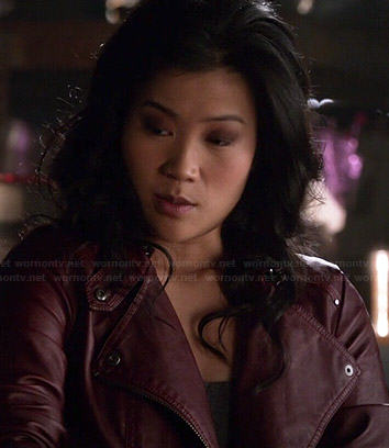 Happy's red leather jacket on Scorpion