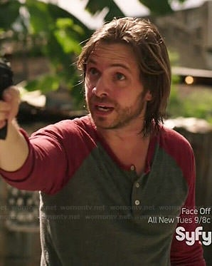 James's grey and red henley tee on 12 Monkeys