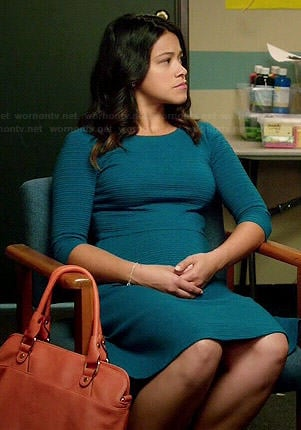 Jane's blue textured dress on Jane the Virgin