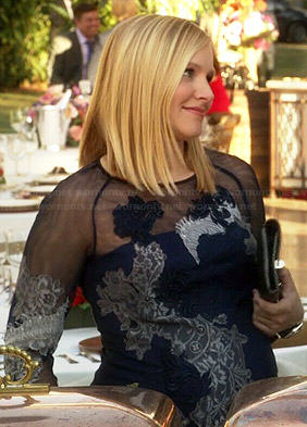 Jeannie's navy blue lace illusion dress on House of Lies