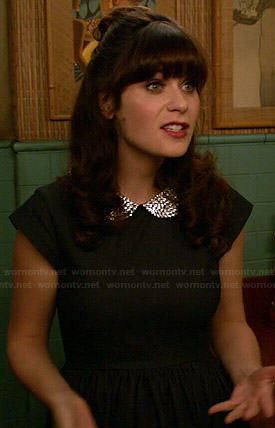 Jess's dark denim dress with beaded collar on New Girl
