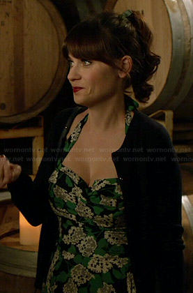 Jess's green floral halter dress on New Girl