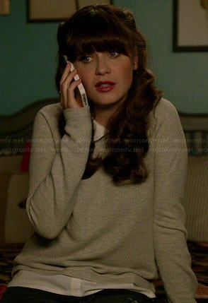 Jess's grey collared sweater on New Girl