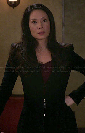 Joan's long black coat on Elementary