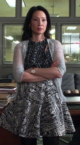 Joan's black and white printed top and skirt on Elementary