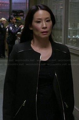 Joan's black zipped coat on Elementary