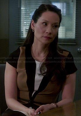 Joan's brown colorblock dress on Elementary