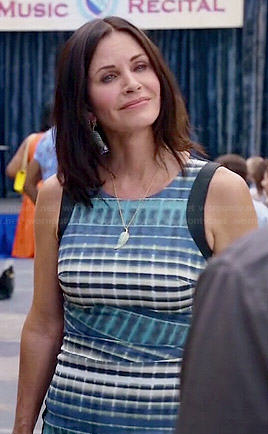 Jules's blue printed front dress on Cougar Town