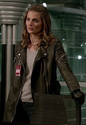 Kate's leather moto coat on Castle