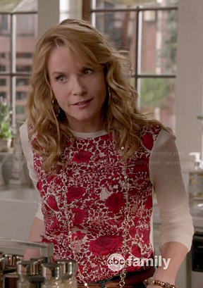 Kathryn's red floral front top on Switched at Birth
