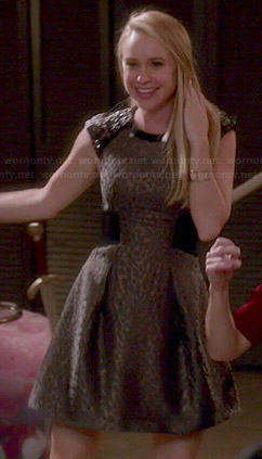 Kitty's metallic leopard textured dress on Glee