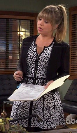 Kristin's black and white leopard print dress on Last Man Standing